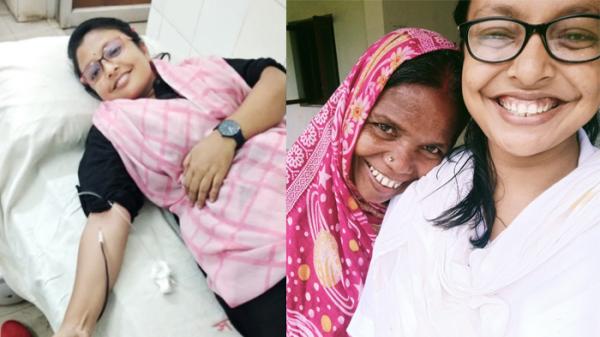 মৌলভীবাজারের সানজানা শিরিনকে সেই বাইকটি দিচ্ছেন ইঞ্জিনিয়ার নাছির